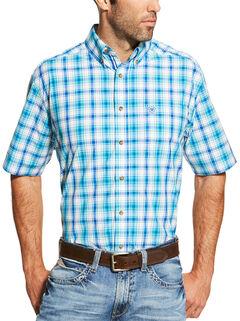 Ariat Men's Turquoise Ira Short Sleeve Shirt - Big and Tall , , hi-res