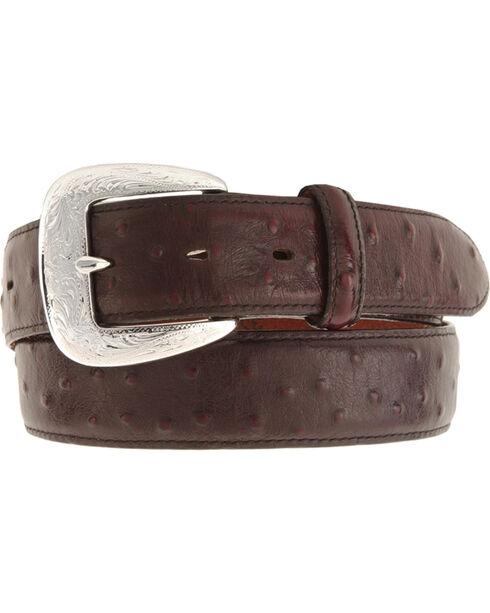 Tony Lama Ostrich Print Leather Belt - Reg & Big, Black Cherry, hi-res