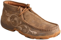 Twisted X Women's Embroidered Brown Lace-Up Driving Mocs, Brown, hi-res