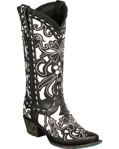 Lane Black and White Robin Cowgirl Boots - Snip Toe , Black, hi-res