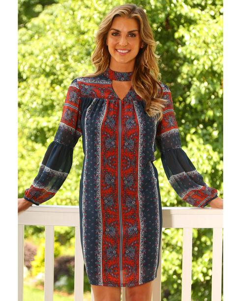 Wrangler Women's Floral Print Peasant Sleeve Dress, Red, hi-res