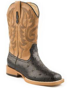 Roper Youth Boys' Ostrich Print Cowboy Boots - Square Toe, Black, hi-res
