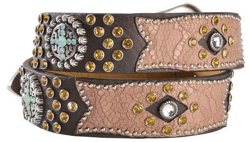 Ariat Bedecked Crackle Leather Overlay Belt, Brown, hi-res