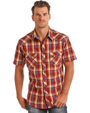 Rock & Roll Cowboy Men's Bleach Washed Plaid Short Sleeve Shirt, Coral, hi-res