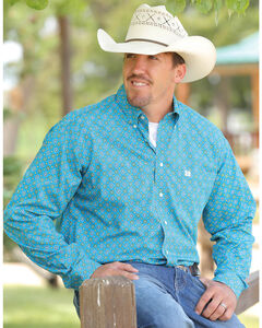 Cinch Men's Turquoise Small Pattern Long Sleeve Shirt , Turquoise, hi-res