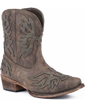 Roper Women's Amelia Eagle Overlay Short Western Boots - Snip Toe, Brown, hi-res