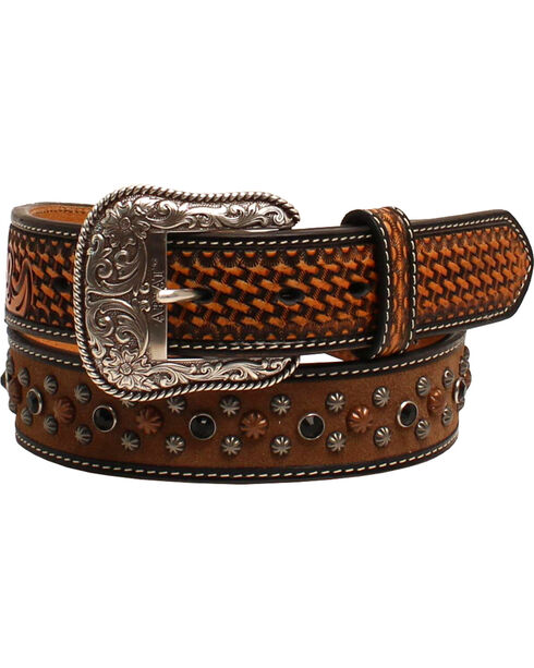 Ariat Men's Basketweave Studded Belt , Tan, hi-res