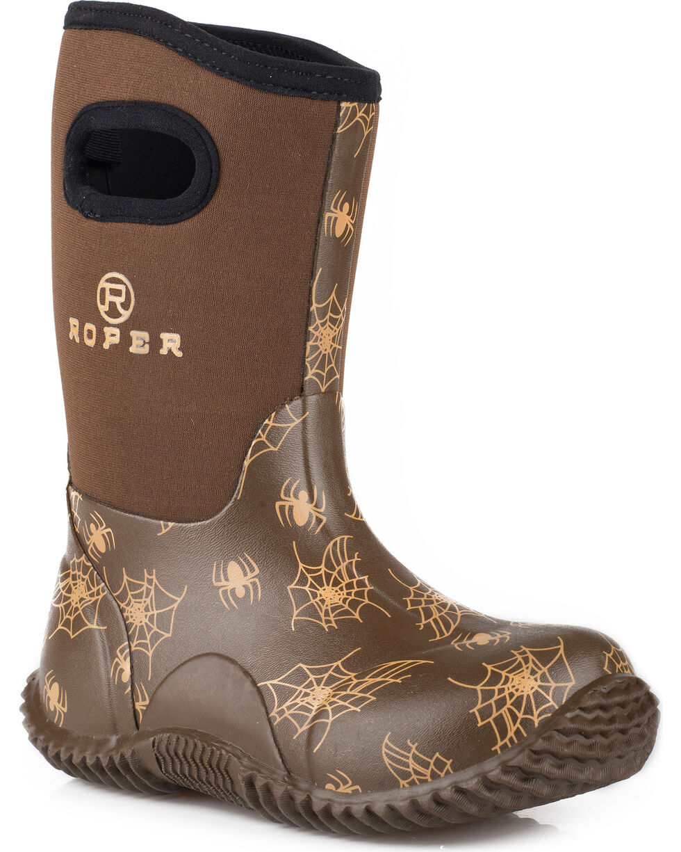 Roper Boys' Spidy Western Rubber Barn Boots - Round Toe, Brown, hi-res