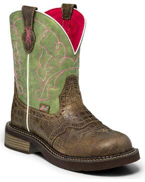Justin Gypsy Women's Gemma Moss Gator Print Cowgirl Boots - Round Toe , Green, hi-res