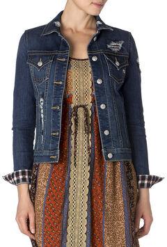 Miss Me Gingham Detail Denim Jacket, , hi-res
