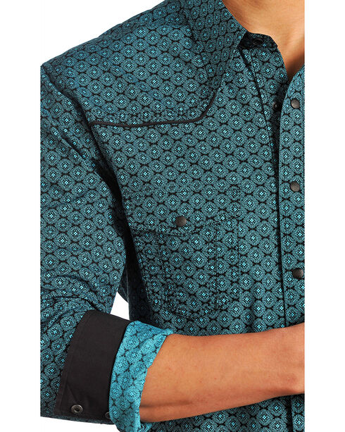 Rock & Roll Cowboy Men's Turquoise Geo Print Shirt, Turquoise, hi-res