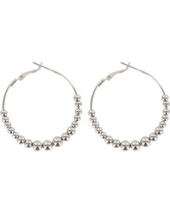 Shyanne Women's Beaded Hoop Earrings , Silver, hi-res