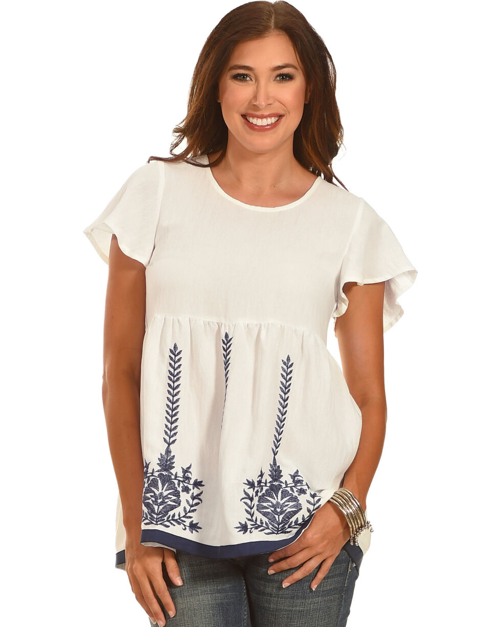 Polagram Women's White Embroidered Top , White, hi-res