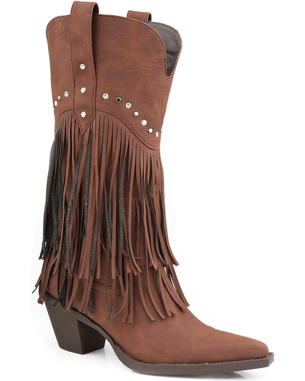 Roper Rhinestone Fringe Cowgirl Boots - Pointed Toe, Brown, hi-res