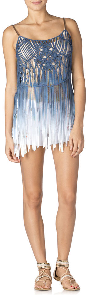 Miss Me Sea Breeze Fringe Tank, Blue, hi-res