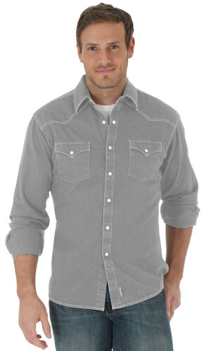 Wrangler Retro Men's Charcoal Grey Double Pocket Long Sleeve Shirt , Charcoal Grey, hi-res