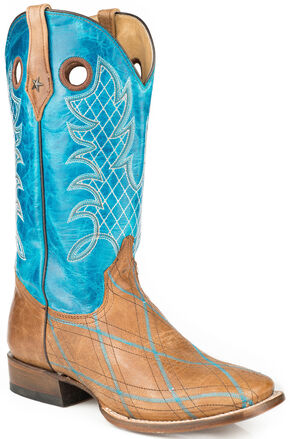 Roper Embroidered Basic Cowboy Boots - Square Toe, Brown, hi-res