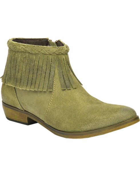 Corral Suede Braided Fringe Short Boots - Round Toe, Green, hi-res