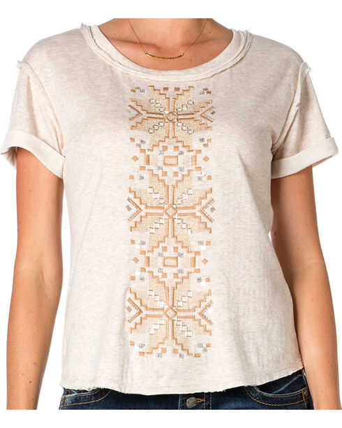 Miss Me Women's Aztec and Lace Long Sleeve Tee, Taupe, hi-res