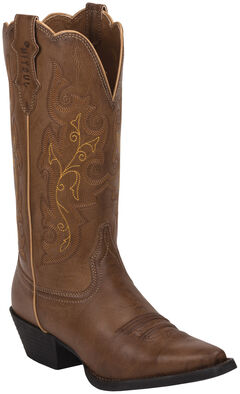 Justin Burnished Brown Farm & Ranch Cowgirl Boots - Snip Toe    , , hi-res