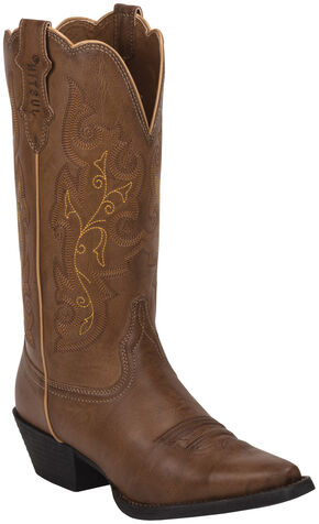 Justin Burnished Brown Farm & Ranch Cowgirl Boots - Snip Toe    , Wood, hi-res