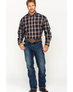 Cinch Men's Navy Plain Weave Plaid Long Sleeve Button Down Shirt, Navy, hi-res