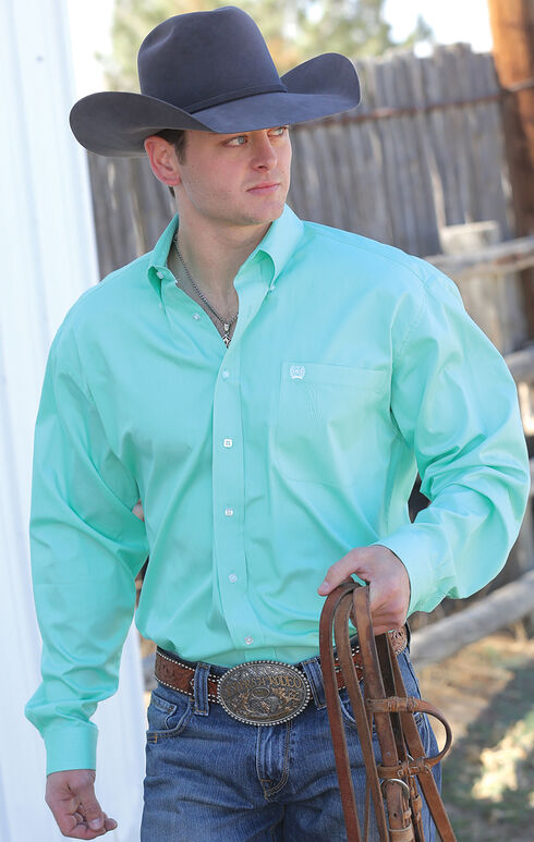C‌inch Men's Green Button Long Sleeve Shirt - XXXL, Green, hi-res