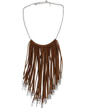 Shyanne Women's Fringe Necklace, Brown, hi-res