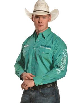 Wrangler Men's Ram Logo Western Shirt , Green, hi-res