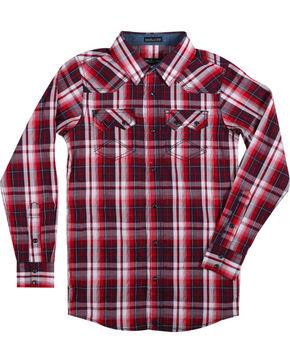 Cody James Boys' Americana Plaid Long Sleeve Shirt , Red, hi-res