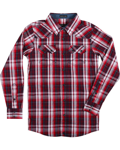 Cody James Boys' Americana Plaid Long Sleeve Shirt , Red, hi-res
