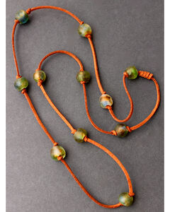 "2 Queen B's Women's Green 36"" Knotted Suede Ghana Bead Necklace , Green, hi-res"