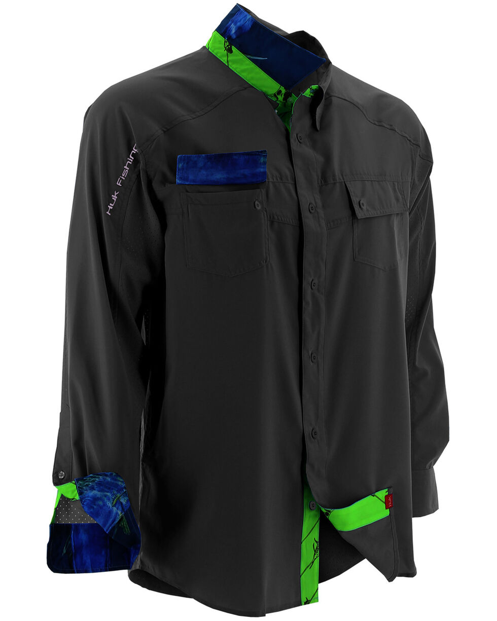 Huk Performance Fishing Men's Next Level Woven Shirt , Black, hi-res