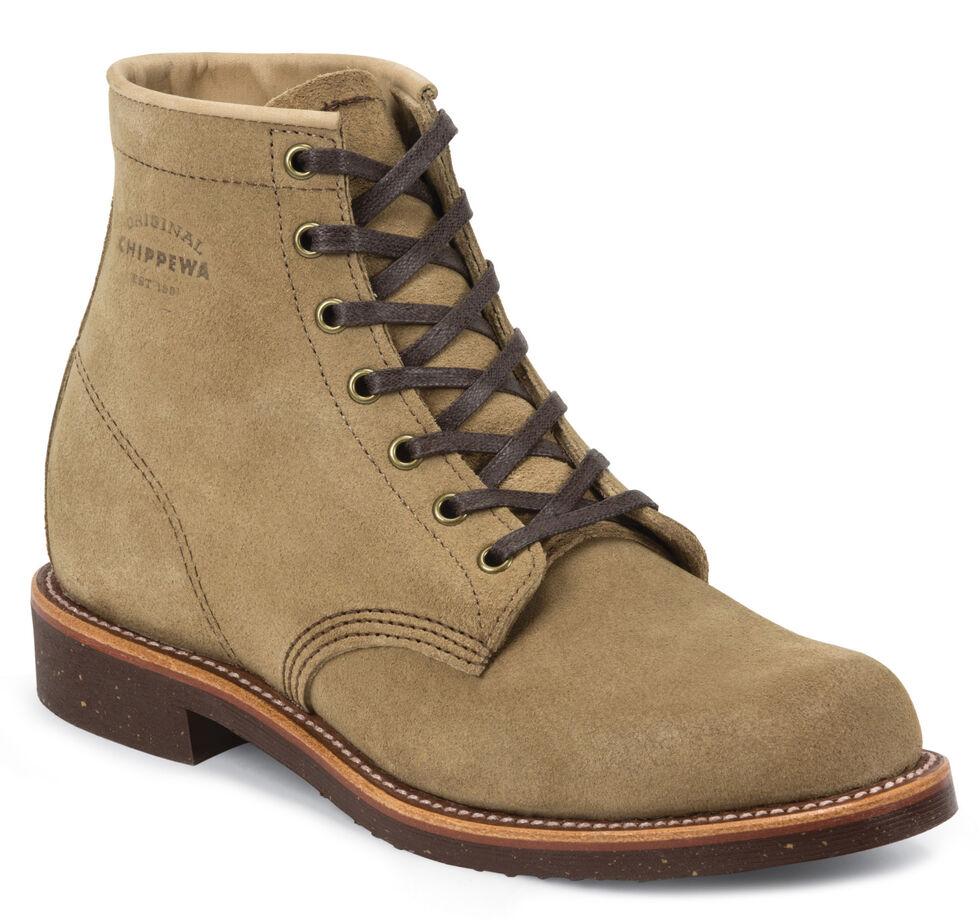 "Chippewa Men's 6"" Lace-Up Khaki Suede Service Boots - Round Toe, Khaki, hi-res"