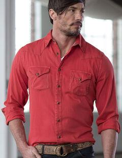 Ryan Michael Men's Textured Stripe Silk Shirt, Red, hi-res
