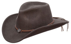 Jack Daniel's Twisted Leather Bend-A-Brim Wool Felt Crushable Cowboy Hat, Brown, hi-res