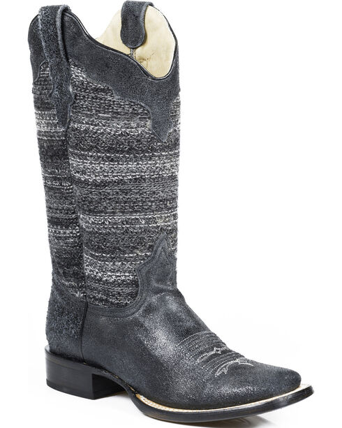 Roper Black Fabric Vintage Stripe Cowgirl Boots - Square Toe , Black, hi-res
