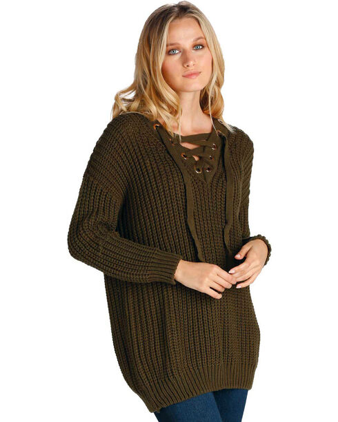 Elan Women's Olive Lace-Up Chunky Sweater , Olive, hi-res