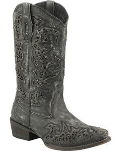 Roper Sanded Leather Black Glitter Cowgirl Boots - Snip Toe , , hi-res