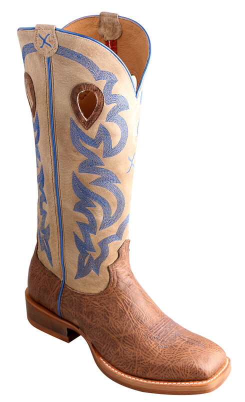"Twisted X 16"" Cream Buckaroo Cowboy Boots - Square Toe, Crazyhorse, hi-res"