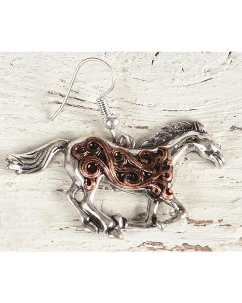 Shyanne Women's Filigree Running Horse Earrings, Rust Copper, hi-res