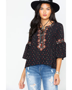 Miss Me Women's Black Bell Sleeve Blouse , Multi, hi-res