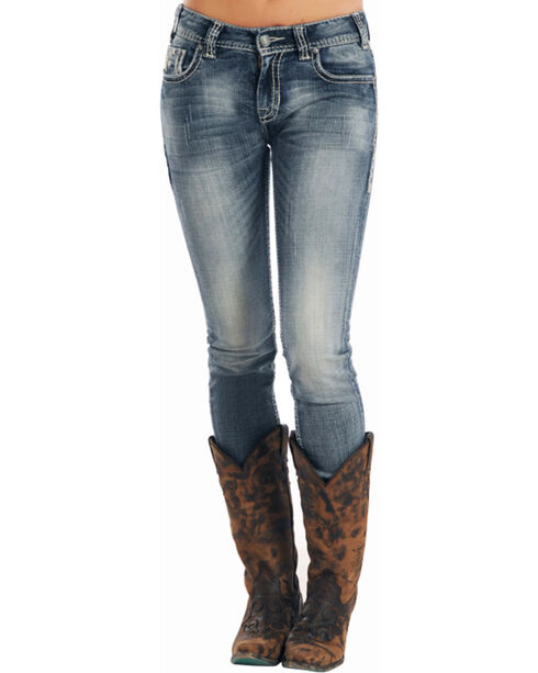 Rock & Roll Cowgirl Women's Indigo Mid-Rise X Stitching Jeans - Skinny , , hi-res