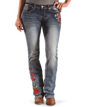 Grace in LA Women's Blue Amelia Floral Jeans - Boot Cut , Blue, hi-res