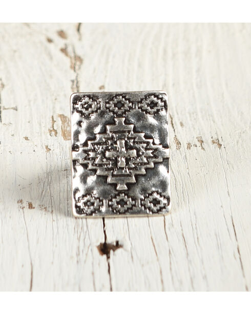Shyanne Women's Aztec Rectangular Ring, Silver, hi-res