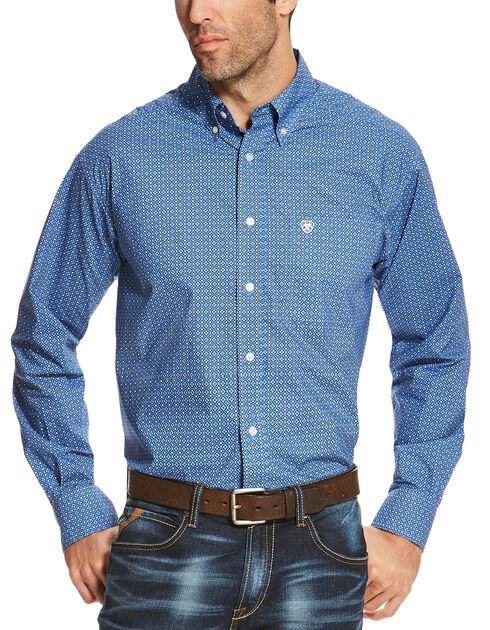 Ariat Men's Blue Oldham Print Long Sleeve Shirt - Big and Tall , Multi, hi-res