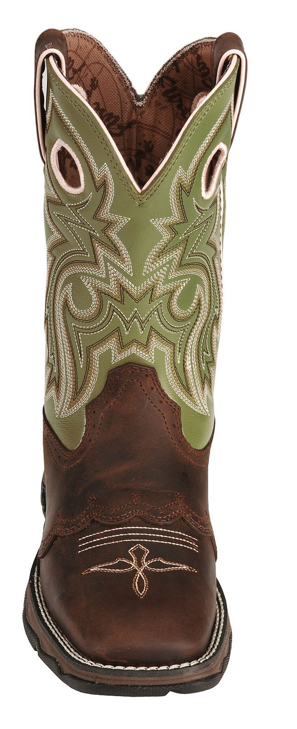 Durango Green Flirt Saddle Cowgirl Boots - Square Toe, Bay Apache, hi-res
