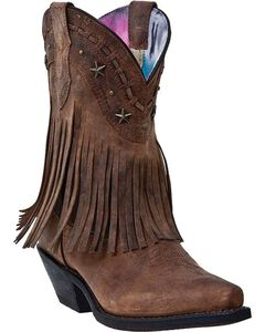 Dingo Hang Low Fringe Short Cowgirl Boots - Snip Toe, , hi-res