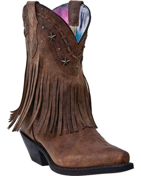 Dingo Hang Low Fringe Short Cowgirl Boots - Snip Toe - Country ...