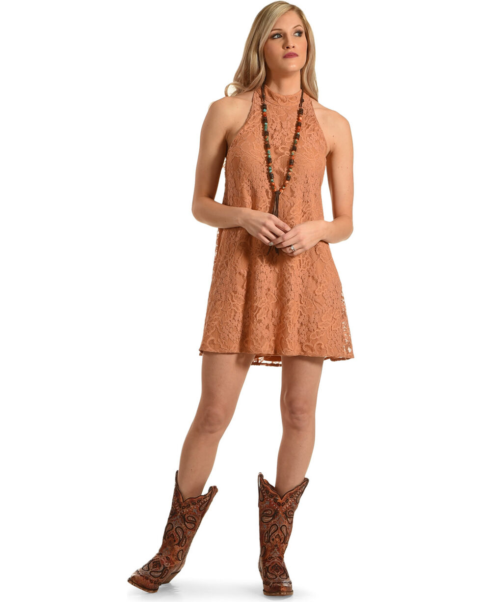 Young Essence Women's Sleeveless High Neck Lace Dress, Brown, hi-res